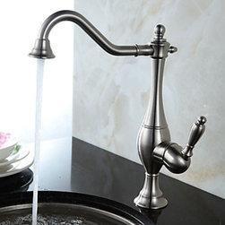 Kitchen Sink Faucets - Vintage Style Nickel Brushed Curve Design Kitchen Faucet--FaucetSuperDeal.com