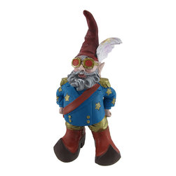 Zeckos - Elfin John Fabulously Dressed Entertainer Garden Gnome - This fabulously dressed 1960's Captain Fantastic Elfin John garden gnome stands at the ready to play Your Song This Boy in the Red Shoes won't Let the Sun Go Down on Him, dressed in his blue coat with gold epaulets and red sash. Standing 15 inches tall, 7 inches wide and 5 1/2 inches deep, he is made of cold cast resin, and is hand-painted. He'll add a fun, unique accent to your Empty Garden.