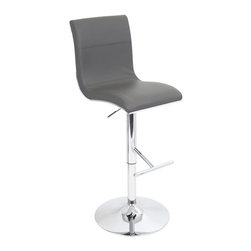 Lumisource - Spago Barstool in Grey Finish - Adjustable seat height from 27 to 32 in.. Adjustable height from 40.25 to 45.25 in.. Made from PU, foam and chrome. Grey finish. Assembly required. 19.5 in. W x 14.5 in. D x 45.25 in. H (20.5 lbs.)A new twist on simplicity. An ergonomically curved seat sits elegantly atop chrome frame accents. A stormy grey seat help underline the understated beauty of simplicity. A straight bar footrest and chrome base joins firmly to complete this stunning new barstool.