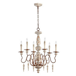 Quorum Lighting - Quorum Lighting La Maison Traditional Chandelier X-65-6-2506 - Uniquely captivating, this distinctively looking Chandelier features a traditional styled frame in a Manchester grey finish with rust accents. The leaf patterned decorations and stylish frame display an eye-catching look to the open area. The Quorum Lighting La Maison classic Chandelier provides an enchanting and whimsical atmosphere to the area.