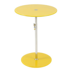 Eurostyle - Radinka Side Table-Yellow - When you place a lamp on this fantastic side table, the lamp just shines … literally and figuratively. The circular top and base are beautiful bookends to the slender column, which work to present any displayed item in its best light.
