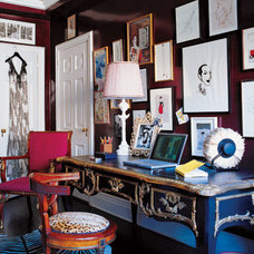 Eclectic  Office with lacquered black walls