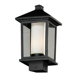 One Light Black Clear Beveled + Matte Opal Glass Post Light - Unique double glass styling and rectangular detailing define the modern styling of this medium outdoor post head. Clear beveled glass on the outside with matte opal inner glass creates an elegant glow, while the cast aluminum hardware finished in black can withstand nature's seasonal elements.