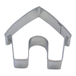 RM - Dog House 3.5 In. B1299X - Dog House cookie cutter, made of sturdy tin, Size 3.5 in., Depth 7/8 in., Color silver