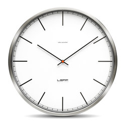 Leff Amsterdam - One45 Wall Clock - Stainless Steel/White - Index - Leff Amsterdam - The design of the One clocks is instantly classic; an iconic design recognised for its timelessness, quality and durability. The brushed stainless steel case combined with the back cover makes this clock feel solid and reliable. Inside, a precise Japanese movement will indicate the right time. This clock is covered by Leff Group's 5-Year warranty.