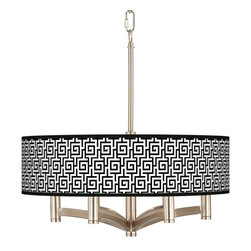 """Giclee Glow - Asian Greek Key Ava 6-Light Nickel Pendant Chandelier - Sleek and elegant this beautiful pendant light will make your home glow with style. A brushed nickel finish complements the clean lines while six lights make this fixture a delightfully bright and versatile choice for any style of home decor. The design features an exclusive custom printed giclee shade pattern. The pattern is printed on a high-quality translucent fabric that allows warm light to shine through illuminating the pattern for a stunning look. This stylish fixture is custom made to order. U.S. Patent # 7347593. Brushed nickel finish. Exclusive giclee printed Greek Key pattern. Custom printed translucent fabric shade. Six 60 watt candelabra bulbs (not included). Includes 12 feet chain and wire. 17 1/4"""" high. Shade is 20"""" wide 5 1/4"""" high. Canopy is 6"""" wide.  Brushed nickel finish.  Exclusive giclee printed Greek Key pattern.  Custom printed translucent shade.  Six 60 watt candelabra bulbs (not included).  Includes 10 feet of chain 12 feet of wire.  19 1/2"""" high.  Shade is 20"""" wide 5 1/4"""" high.  Canopy is 6"""" wide."""