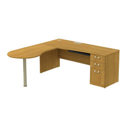 """BBF - BBF Quantum 72W x 30D RH Single Pedestal Desk 3-Drawer with Peninsula - BBF-Commercial Grade Office-QUA042MCR-Artfully designed Quantum never goes out of style. Arrange it for basic small-footprint configurations or expand and accessorize for more complex needs. The BBF Quantum Modern Cherry 72"""" W x 30""""D RH Peninsula L-Desk with 3-Drawer Pedestal (B/B/F) offers style and storage for any office. Its """"L"""" configuration takes up minimal floor space and provides a place for associates to gather. Single pedestal return has two box drawers for miscellaneous supplies and one file drawer for letter-or Legal-Zize files. Central lock keeps bottom two drawers secure. Wire management keep work surfaces clean of cables and cords. Extruded aluminum door and drawer pulls are solid and stylish. Thermally fused laminate surface resists scratches and stains while durable edge banding protects against dings and dents. Includes BBF Limited Lifetime warranty is American made and GSA approved."""