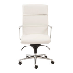Eurostyle - Leif High Back Office Chair-Wht/Chrm - Eight hours won't seem like a long workday when you're sitting in this generously cushioned office chair. And when you take your well-deserved breaks, the high back gives you a soft place to rest your head.