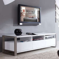 "B-Modern - Stylist 63"" High-Gloss White TV Stand - BM-110-WHT - Contemporary Design"
