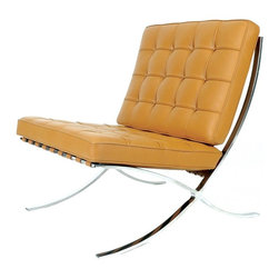 """Barcelona Chair Inspired Reproduction, Tan - The Exposition Chair is a modern classic, which combines high-concept Mid-Century Modern interior design aesthetics with the comfort and luxury of your favorite lounge chair. The famous maxim, """"less is more"""", is clearly visible in the strong, no-frills design of the Exposition Chair, which features a sturdy base of welded stainless steel. The Exposition Chair comes upholstered in fine 100% Italian leather, and is available in either black or white."""