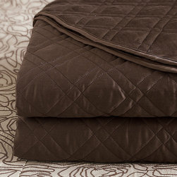 Frontgate - Coperta Coverlet - From Eastern Accents. 100% cotton sateen woven in Italy. 300-thread count. Choose from several soft, neutral colors. Machine Washable. Rectilinear lattice motifs stretch elegantly across our Coperta Quilted Sateen Bedding Collection. The beautiful colors and simple design conjure views of the Mediterranean landscape. Coperta coverlets and bed pillows highlight the finest aspects of luxurious linens.  . .  .  .  . Because this bedding is specially made to order, please allow 4-6 weeks for delivery.. Fabrics woven in Italy; sewn in the U.S.A.