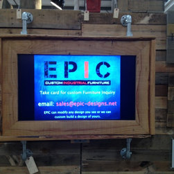 "Pipe / Wood Frame - This display is great for a rustic look in your family room or office.  As shown this display has a 40"" LED display in it with salvaged wood as the frame.  If you want a piece that nobody else would have, this is it.  EPIC can provide the display as well for a complete design, tv installation required and shipped separate."