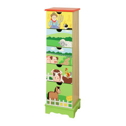 Teamson Design - Fantasy Fields Hand Carved Happy Farm 5 Drawer Cabinet - Teamson Design - Kids Dressers - TD11323A - Giddy up and get yourself to the farm! Teamsons 5 Drawer Farm Cabinet offers the best place to store all your childrens little keepsakes from socks and onesies to barrettes and bows and all sorts of little clothes. Cabinet is hand carved and painted with quality wood and beautiful hand sculpted images of farm animals. Visit with a horse have an adventure with a cow sneak about with a sheep protrude the pathways with a pig and get festive with a farmer and his pup. When a trip to the farm isnt possible bring it home! Perfect for all ages.