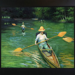 "overstockArt.com - Caillebotte - Skiffs on the Yerres - 20"" X 24"" Oil Painting On Canvas Hand painted oil reproduction of a famous Caillebotte painting Skiffs on the Yerres . This is a remarkable oil painting with exceptional use of color, detail and brush strokes. The original painting was created in 1877. Today the painting has been carefully recreated detail-by-detail, color-by-color to near perfection. Gustave Caillebotte (1848 - 1894) was a French painter, member and patron of the group of artists known as Impressionists, though he painted in a much more realistic manner than many other artists in the group. Caillebotte was noted for his early interest in photography as an art form."