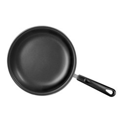 Range Kleen - Basics 10 in. Fry Pan with Nonstick Coating - Premium quality stainless steel. Encapsulated bottom distributes heat evenly. Heavy gauge steel handles with cool touch phenolic riveted for maximum durability. Oven safe up to 350 degree F. Limited lifetime household warrantyEggs and omelets slide right out, and sautéing veggies is a snap. Delicious Low or no fat cooking, and super-easy clean up. This essential pan will really perform in your kitchen. QuanTanium premium non-stick coating is durable and scratch resistant, improving the life of the pan. Great for eating healthier, or just for cutting down on kitchen clean up time! Ideal for most range tops . . . electric, halogen, gas, ceramic/glass - smooth top and solid plate.