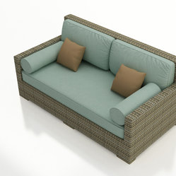 Forever Patio - Hampton Outdoor Wicker Day Lounger, Heather Wicker and Spa Cushions - You can easily relax outside with the generously-sized, quality-built Forever Patio Hampton Patio Wicker Day Lounger with Turquoise Sunbrella cushions (SKU FP-HAM-DL-HT-SP). The UV-protected, heather wicker sports a flat woven design, creating a contemporary look with clean lines. Each strand of this outdoor wicker is made from High-Density Polyethylene (HDPE) and is infused with its rich color and UV-inhibitors that prevent cracking, chipping and fading ordinarily caused by sunlight. This modern outdoor sofa is supported by thick-gauged, powder-coated aluminum frames that make it more durable than natural rattan. This lounger includes fade- and mildew-resistant Sunbrella cushions and bolster pillows for added comfort to your outdoor space.