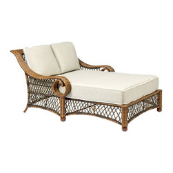 Woodard Belmar All Weather Wicker Daybed - The lap of luxury isn't an abstract idea - it's the Woodard Belmar All Weather Wicker Daybed, a generously sized lounger for two with classic detail and a patio- and poolside-ready design. Crafted with durable weather-resistant resin wicker over a sturdy aluminum frame, this stationary daybed boasts a spacious seat piled with sumptuous fabric cushions available in your choice of colors. Elegant details include a softly curved high back, sweeping curled arms, a delicate lattice weave and a natural light brown finish. Snuggle with your sweetheart, curl up with a good book, or just soak in a sunny afternoon - this daybed has room for it all.Important NoticeThis item is custom-made to order, which means production begins immediately upon receipt of each order. Because of this, cancellations must be made via telephone to 1-800-351-5699 within 24 hours of order placement. Emails are not currently acceptable forms of cancellation. Thank you for your consideration in this matter.Woodard: Hand-crafted to Withstand the Test of TimeFor over 140 years, Woodard craftsmen have designed and manufactured products loyal to the timeless art of quality furniture construction. Using the age-old art of hand-forming and the latest in high-tech manufacturing, Woodard remains committed to creating products that will provide years of enjoyment.Superior Materials for Lasting DurabilityIn the Aluminum Collections, Woodard's trademark for excellence begins with a core of seamless, virgin aluminum: the heaviest, purest, and strongest available. The wall thickness of Woodard frames surpasses the industry's most rigid standards. Cast aluminum furniture is constructed using only the highest grade aluminum ingots, which are the purest and most resilient aluminum alloys available. These alloys strengthen the furniture and simultaneously render it malleable. The end result is a fusion of durability and beauty that places Woodard Aluminum furniture in a league of its own.All Seasons Outdoor Wicker is the latest addition to the Woodard line of quality furniture. Each piece is constructed using cutting-edge synthetic fibers, hand-woven over an aluminum frame. With this combination of resilient, weather-resistant materials and Woodard's quality workmanship, All Seasons Wicker will retain its beauty and integrity for years.Fabric, Finish, and Strap Features All fabric, finish, and straps are manufactured and applied with the legendary Woodard standard of excellence. Each collection offers a variety of frame finishes that seal in quality while providing color choices to suit any taste. Current finishing processes are monitored for thickness, adhesion, color match, gloss, rust-resistance and, and proper curing. Fabrics go through extensive testing for durability and application, as well as proper pattern, weave, and wear.Most Woodard furniture is assembled by experienced professionals before being shipped. That means you can enjoy your furniture immediately and with confidence.Together, these elements set Woodard furniture apart from all others. When you purchase Woodard, you purchase a history of quality and excellence, and furniture that will last well into the future.
