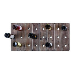 Benzara - Handmade Hangable Wine Rack with 24 Slots - Handmade Hangable Wine Rack with 24 Slots. Add a unique rack of wine to your decor that fits perfectly with any style. A hangable wine rack, built with to hold 24 bottles of wine simultaneously in planks of solid wood.