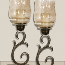 Sorel, Small Candleholders, S/2 - Hand forged metal finished in antiqued bronze with a transparent, copper brown glass globe. White candles included.