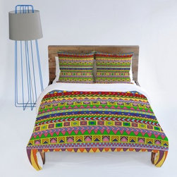 DENY Designs Bianca Green Bright Design Duvet Covers - Ancient native design just got modern with the DENY Designs Bianca Green Esodrevo Duvet Cover. This bright and funky geometric turns traditional Aztec-style patterns on their ear. The happy colors are sure to become a favorite focal point of your bedroom, and the ageless, unisex design means it's perfect for everyone.Duvet Cover Dimensions:Twin: 88L x 68W inchesQueen: 88L x 88W inchesKing: 88L x 104W inchesAbout DENY DesignsDenver, Colorado based DENY Designs is a modern home furnishings company that believes in doing things differently. DENY encourages customers to make a personal statement with personal images or by selecting from the extensive gallery. The coolest part is that each purchase gives the super talented artists part of the proceeds. That allows DENY to support art communities all over the world while also spreading the creative love! Each DENY piece is custom created as it's ordered, instead of being held in a warehouse. A dye printing process is used to ensure colorfastness and durability that make these true heirloom pieces. From custom furniture pieces to textiles, everything they make is unique and distinctively DENY.