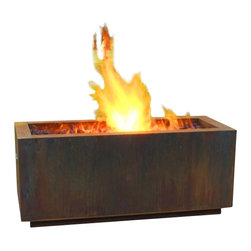 "Home Infatuation - Rectangular Weathering Steel Fire Pit, Glass/Lava Rock with/Propane Gas - This handcrafted outdoor fire pit is constructed entirely of 11 gauge Cor-Ten steel. Commonly called ""weathering steel"" it will develop a beautifully brown layer of rust when exposed to the weather."