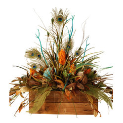 Large Floral in Wooden Box With Peacock Feathers - Large Floral Arrangement in Rustic Wooden Box