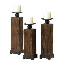 Sterling Industries - Wood Veneer Candle Holders in Halesite Wood, Set of 3 - This Candle Holders from the Wood Veneer collection by Sterling will enhance your home with a perfect mix of form and function. The features include a Hale site Wood finish applied by experts.