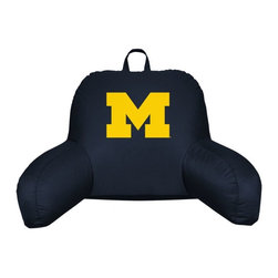 Sports Coverage - Michigan Wolverines NCAA Jersey Material Bedrest - Sit back and get ready to watch the game with this comfortable Michigan Wolverines NCAA Jersey Material Bedrest from Sports Coverage Inc. Each bedrest is made from 100% Polyester Jersey with a 100% Polyester fill (just like the athlete's wear) and features a screen printed logo in the center. Great for watching the game on the floor or in your bed, this Locker Room bedrests allows your to cheer for your team while relaxing in style.   Features:  -  100% Polyester ,   -  Lightweight,    - Jersey Bedrest ,   - Team logo centered on solid background ,   -  Size: 21x 31,