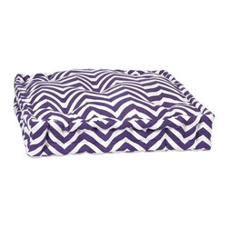 """IMAX - Purple Chevron Floor Cushion - This functional floor cushion features a fun purple chevron print fabric with tufted details. Item Dimensions: (20""""H x 20"""")"""