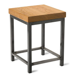 Square Metal Stool, Cherry, 18""