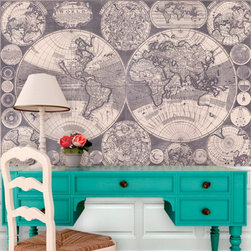 Swag Paper - Swag Paper Map of the World 1702 Self-Adhesive Wallpaper Multicolor - MWORLD1702 - Shop for Wallpaper from Hayneedle.com! Distinguished historically accurate and oh so stylish the Swag Paper Map of the World 1702 Self-Adhesive Wallpaper is a breathtaking way to decorate. It is a dramatic reproduction of the one originally produced by map maker William Godson in 1702. Stunning in its scale and authenticity this world map lends gravitas to your home. Its vintage finish works well with any setting. It comes in your choice of available sizes.This 1702 Map of the World is an ingenious way for renters do-it-yourselfers and history buffs to easily create an entire map wall. It's crinkle-free repositionable and removable. The wallpaper has a peel-and-stick design that applies easily over clean primed or painted walls and flat surfaces or furniture. The Tools You'll Need:Tape measureSpongeStraight edgeLevel (optional)Utility knife or razor bladePlastic smoother (a credit card also works)Step stool or ladderEasy Installation Instructions:Measure the width of your wall in feetDivided the width by 2 to find the number of panels you'll needPeel backing by about 8 to 12 inches and apply to wallSmooth overKeep pulling the backing away in 8- to 12-inch incrementsTrim off the excess materialOverlap panels by 1 inch to match patternsCreate a butt seam by cutting the top overlapping layer of wallpaper removing it and smoothing overSwag Paper - Empowering the Do-It-Yourselfer:Forget the paste the crinkles and cutting rolls of wallpaper to make the patterns match. Dave and Daniela Fields a brother-and-sister team developed Swag Paper for Do-It-Yourselfers with high aspirations and little time. Their adhesive-backed panels apply in a fraction of the time it takes to apply traditional wallpaper and all you really need in the way of tools is a tape measure sponge straight edge utility knife and credit card. Swag Paper is removable non-destructive and residue free making it the
