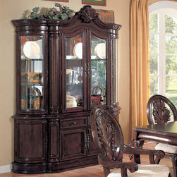 Coaster - Tabitha Collection Cherry Buffet/Hutch - This collection of elaborate carvings and careful detail brings forth the kind of beauty reserved only for the Master dining room. China cabinet features touch lighting. Made of Birch solids and veneers. Collection is finished in a deep rich cherry.