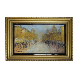 Pre-owned Mid-century Paris Street Scene Oil Painting - Oil painting of a Mid-century Parisian street scene, signed Berkes A. on the lower let. Displayed in a gilt-wood frame with a black lacquer fillet. In very good condition with light wear, a chip and light wear to the frame.