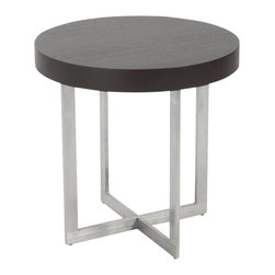 Eurostyle - Eurostyle Oliver Side Table in Wenge and Brushed Stainless Steel - Eurostyle - End Tables - 28047ABKIT - Tops of wood veneer or high gloss white lacquer finish off a chrome or stainless steel frame made to last and made to be noticed. The rectangular legs and base crosspieces are put together with the thin edge facing out and up. So like two picture frames they convey an image of strength and space.