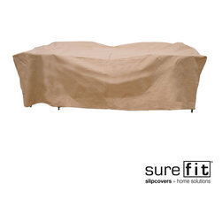 Sure Fit - Sure Fit Deluxe Rectangle Table/Chair Set Cover - Protect your outdoor table and chairs from the elements with this Sure Fit weather-resistant chair cover set. The PVC-coated polyester material creates a protective barrier, so your furniture will be clean and ready for use year after year.