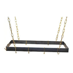 Rogar - Rectangle without grid, Black/Brass - Dimensions:  30 in. L x 15 in. W x 2 in. H