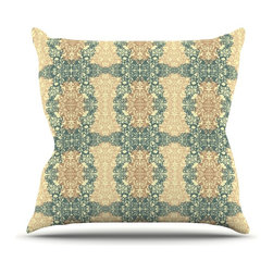 """Kess InHouse - Mydeas """"Fancy Damask Antique"""" Brown Teal Throw Pillow (26"""" x 26"""") - Rest among the art you love. Transform your hang out room into a hip gallery, that's also comfortable. With this pillow you can create an environment that reflects your unique style. It's amazing what a throw pillow can do to complete a room. (Kess InHouse is not responsible for pillow fighting that may occur as the result of creative stimulation)."""