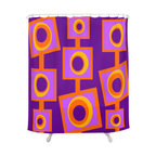 Crash Pad Designs - Crash Pad Designs Funky Shower Curtain - Angus - Let your shower curtain really pop with this playful mod pattern! This bright, retro-inspired curtain is made from 100 percent polyester, features 12-stitched button holes for hanging, and will set such a fun tone for your bathroom!