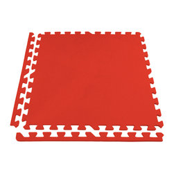 "FlooringInc - FlooringInc Eco-Soft Interlocking Foam Tiles, 12 Pack, 2'x2' Each, Red - Our Eco-Soft foam tiles are designed for users who are looking for a light weight foam flooring or foam matting solution at bargain basement pricing. The interlocking foam tiles are easy to install and maintain and offer many of the same benefits as our 5/8"" soft tile products. A few of those benefits are that these foam tiles are waterproof, insulate well against sound and temperature transmission, and are shock absorbent. These soft tiles are also 100% allergen free and contain no latex."