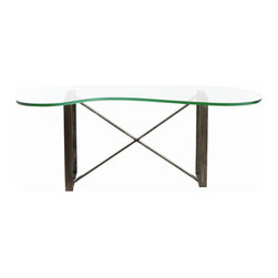 Arteriors - Frazier Coffee Table - You'll love the sculptural look and airy feel of this loft-worthy contemporary coffee table. The base is two iron squares with a unique crossover trestle. What's the cherry on top? It's actually a glass kidney-shaped top that's ready for a tray of pillar candles or drinks.
