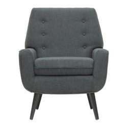 Baxton Studio Levison Linen Modern Accent Chair - Gray - With command presence in any room, the Baxton Studio Levison Linen Modern Accent Chair - Gray is a versatile and easy-to-place piece you're sure to enjoy. The process used in China to create this chair begins with a MDF frame. Firm foam cushioning creates comfortable seating surfaces, and is then upholstered with gray linen, a relevant neutral tone that suits a range of decor themes. Black legs of durable birch wood complete the picture, with non-marking feet. Spot cleaning is recommended. Minor assembly is required, in that you will need to affix the legs.Dimensions:Chair: 35.75W x 31.12D x 35H in.Seat area: 30W x 20D x 16H in.About Wholesale InteriorsThis item is designed and manufactured by Wholesale Interiors, Inc., a furniture company based near Chicago. A lot goes into the making of Wholesale Interiors furniture, and it all starts with attention to details. They hand select their unique line of leather and micro-fiber fabrics. Their furniture is padded with high-polyurethane foam to create the body-contouring comfort and support for which Wholesale Interiors is famous. All frames are constructed of high-quality wood or steel on select models, providing sturdy frame construction that exceeds industry standards. Wholesale Interiors, Inc. is committed to constantly providing stylish and unique furniture for the best value to help you create a comfortable living space with ease and confidence.