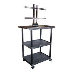 Luxor - Luxor Flat Panel Cart - LE48WTUD-B - The LE series Presentation stations have shelves and legs made from high density polyethylene structural foam molded plastic