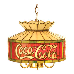 "Meyda Tiffany - Meyda Tiffany Antique Reproductions Pendant Lighting Fixture - Shown in picture: Coca-Cola Pendant; Meyda Tiffany Artisans Have Lovingly Recreated The Classic Red - White & Green Coke Design In Authentic Stained Glass. This Item Was Originally Constructed In The 1930�s By Our ""Quality Bent Glass"" Divison In The Bowery District Of New York City."