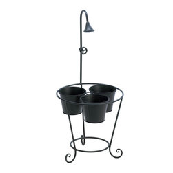 Koolekoo - Plant Trio Stand With Water Faucet - Shower three of your favorite potted plants with charm! This black metal plant stand features a decorative shower head and faucet handle.