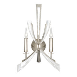 Fine Art Lamps - Vol de Cristal Sconce, 798250ST, by Fine Art Lamps - Brighten your home and heart with this elegant wall sconce. Tapered crystal wings radiate from a lustrous silver-leaf base, lending energy and drama to this exquisitely appointed fixture.