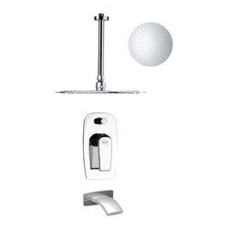 Remer - Sleek Round Chrome Tub and Rain Shower Faucet Set - Italian designed ceiling mounted shower system.