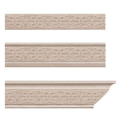 Moldings, Trim & Brackets - Gaelic Crown Molding Insert Only: Add an interesting Gaelic design to your crown molding with this wooden molding insert. In white oak, walnut, cherry and hard maple, this molding insert is unfinished for staining or a beautiful natural wood look.