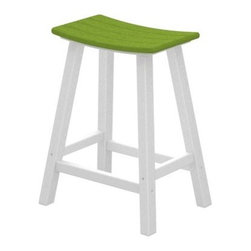 POLYWOOD® Contempo 24 in. Saddle Bar Stool - The POLYWOOD Contempo 24 in. Saddle Bar Stool is a smart and stylish way to bring contemporary comfort and style to your patio deck or outdoor space. Constructed from 90% recycled materials this handsome saddle stool features a high-quality aluminum frame. Designed to endure harsh weather conditions this durable HDPE polywood stool will adorn your home without splintering cracking chipping peeling or rotting. Polywood uses unique plastic lumber making and furniture fabricating technologies. Polywood furniture is backed by a 20 year limited residential warranty. Crafted for comfort as well as style this sleek alfresco bar stool features a smooth design with a curved seat you could spend a whole summer's day in. The polywood lumber construction eliminates the need for painting staining or waterproofing and makes for an easy-to-sleep surface that wipes dry. Choose from a variety of colors for the seat that best complements your home. Please note: Warranty applies to residential use only. About Poly-WoodThe advantages of Poly-Wood Recycled Plastic are hard to ignore. Poly-Wood absorbs no moisture and will NOT rot warp crack splinter or support bacterial growth. Poly-Wood is also compounded with permanent UV-stabilized colors which eliminates the need for painting staining waterproofing stripping and resurfacing. This material is impervious to many substances including salt water gasoline paint stains and mineral spirits. In addition every Poly-Wood product comes with stainless steel hardware. Poly-Wood is extremely easy to clean and maintain. Simple soap and water is all you need to get rid of dirt and make your furniture look new again. For extreme cleaning needs you can use a 1/3 bleach and water solution. Most Poly-Wood furnishings are available in a variety of classic colors which allow you to choose your favorite or coordinate with the furniture you already have. This is sure to be a piece that you will be proud to own f