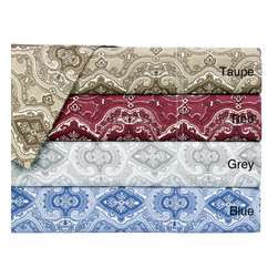 None - Cotton Lorena 300 Thread Count Paisley Sheet Set - A monochromatic paisley pattern lends captivating detail to this 300 thread count Lorena sheet set. Crafted with pure cotton,these printed sateen weave sheets come with matching pillowcases and are conveniently machine washable.