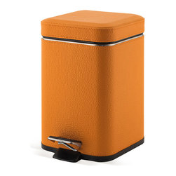 Gedy - Square Orange Waste Bin With Pedal - Unique, stylish square waste basket with pedal. Contemporary waste bin is made out of orange colored faux leather and stainless steel. Square bathroom step wastebasket. Made in Italy by Gedy. Square waste basket with pedal. Contemporary design. Made out o